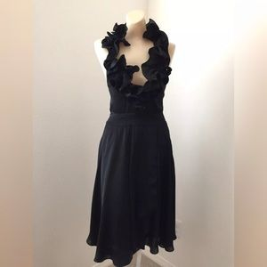 Bebe Black Sexy Satin Ruffle Halter Dress Size 4